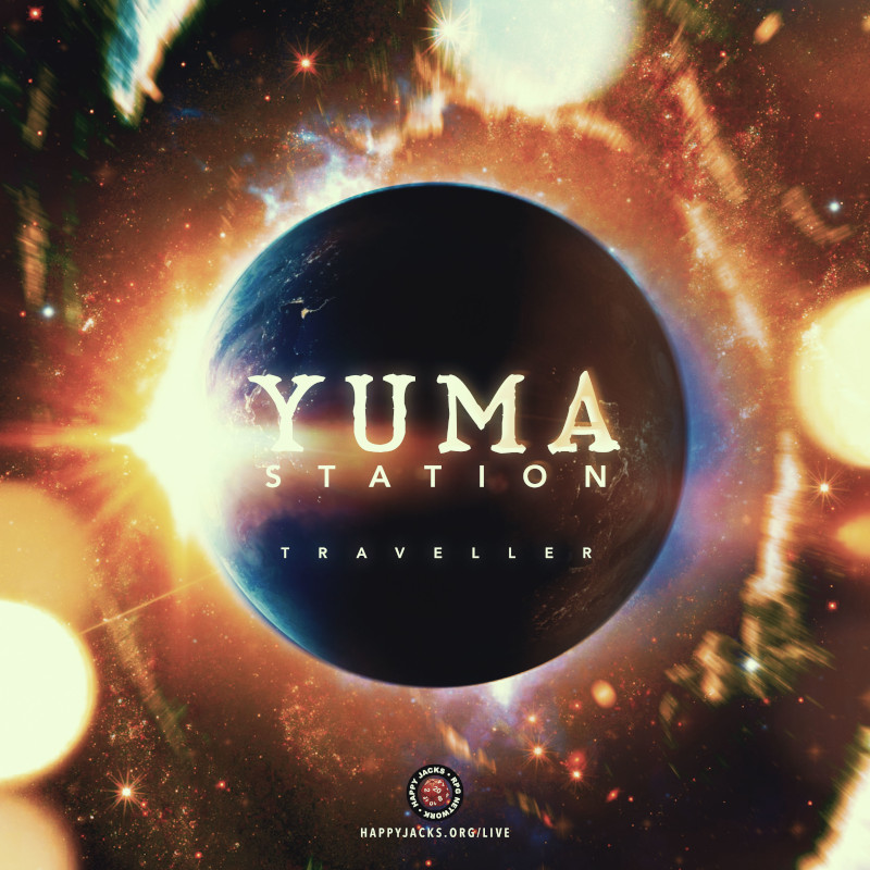 """Planet in space surrounded with a sun rising at its edge. Title """"Yuma Station"""" over the image."""
